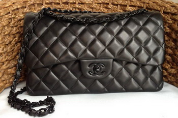 Chanel Classic Flap Bag Original Lambskin Leather A1113 Black