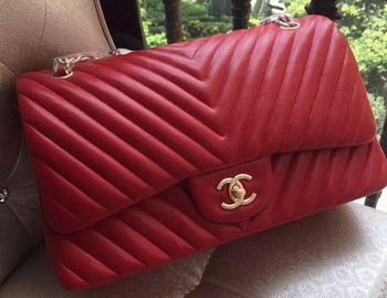 Chanel Classic Flap Bag Red Sheepskin Chevron Quilting A1113 Gold