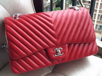 Chanel Classic Flap Bag Red Sheepskin Chevron Quilting A1113 Silver