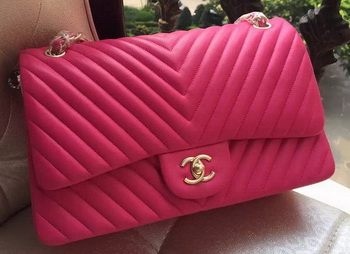 Chanel Classic Flap Bag Rose Sheepskin Chevron Quilting A1113 Gold