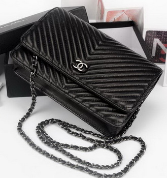 Chanel V mini Flap Bag Chevron Leather A33814V Black