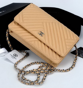 Chanel WOC mini Flap Bag Chevron Leather A33814V Apricot