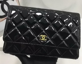 Chanel WOC mini Flap Bag Patent Leather A33814P Black
