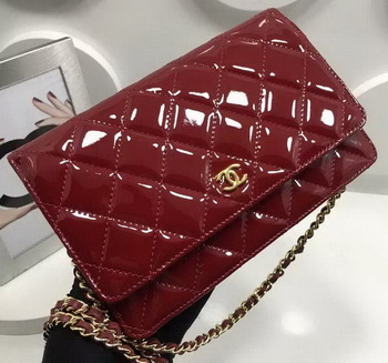 Chanel WOC mini Flap Bag Patent Leather A33814P Burgundy