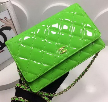 Chanel WOC mini Flap Bag Patent Leather A33814P Green