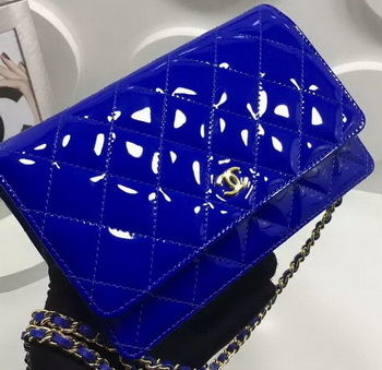 Chanel WOC mini Flap Bag Patent Leather A33814P Royal