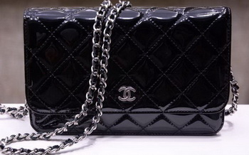 Chanel mini Flap Bag Black Patent Leather A33814P Silver