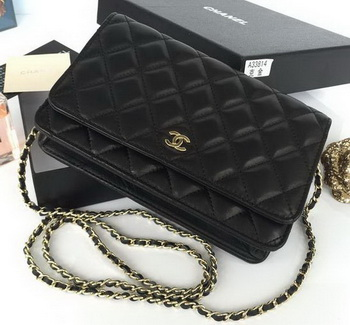 Chanel mini Flap Bag Black Sheepskin Leather A33814S Gold