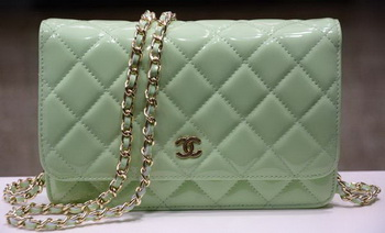 Chanel mini Flap Bag Green Patent Leather A33814P Gold