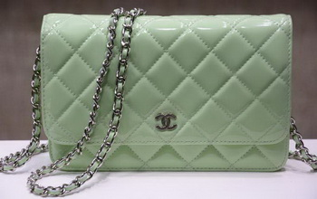 Chanel mini Flap Bag Green Patent Leather A33814P Silver