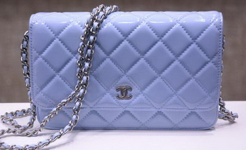 Chanel mini Flap Bag Lavender Patent Leather A33814P Silver