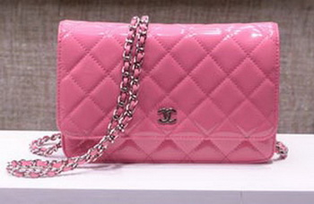 Chanel mini Flap Bag Pink Patent Leather A33814P Silver