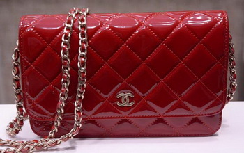 Chanel mini Flap Bag Red Patent Leather A33814P Gold