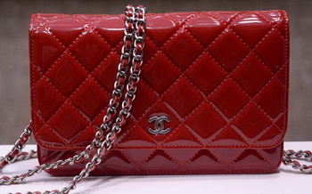 Chanel mini Flap Bag Red Patent Leather A33814P Silver