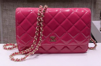 Chanel mini Flap Bag Rose Patent Leather A33814P Silver