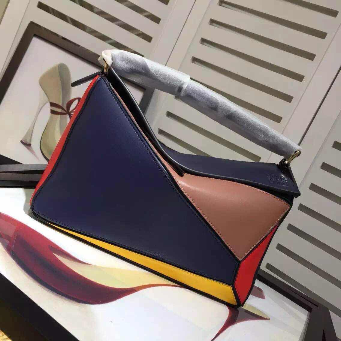 Loewe Puzzle Large Bag L9120 Navy&Brow&Red&Yellow