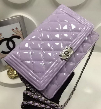 Boy Chanel WOC mini Flap Bags Patent Leather A33815 Lavender