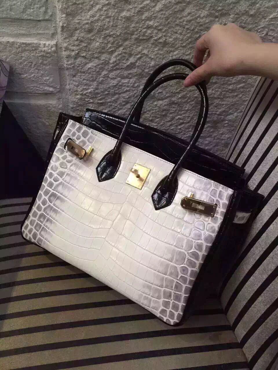 Hermes Birkin 30CM Shoulder Bag White&Black Croco Leather H30 Gold