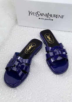 Yves Saint Laurent Patent Leather Slipper YSL287 Blue