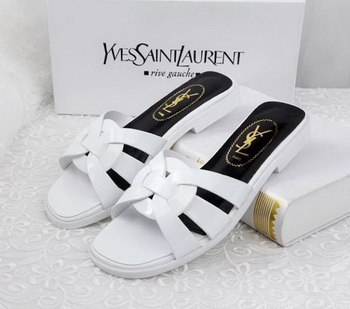 Yves Saint Laurent Patent Leather Slipper YSL287 White