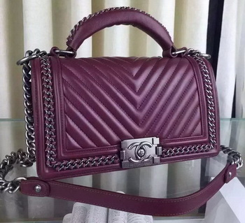 Boy Chanel Top Flap Bag Original Chevron Sheepskin A67088 Burgundy