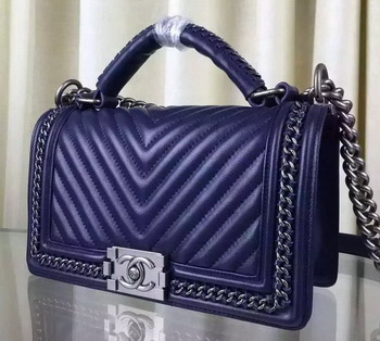 Boy Chanel Top Flap Bag Original Chevron Sheepskin A67088 Royal