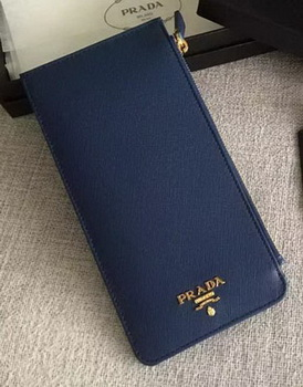 Prada Saffiano Leather Business Card Holder BR1751 Blue