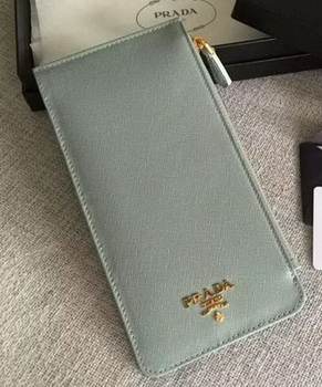 Prada Saffiano Leather Business Card Holder BR1751 Light Blue