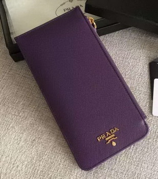 Prada Saffiano Leather Business Card Holder BR1751 Purple