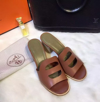 Hermes Slippers Leather HO709 Brown
