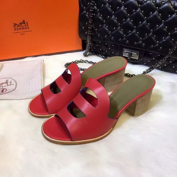 Hermes Slippers Leather HO710 Red