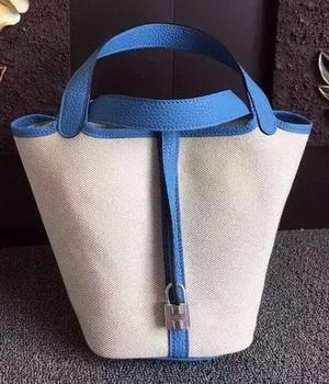 Hermes Picotin Lock 18cm Bag Canvas HPL8618T Blue