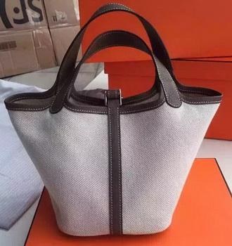 Hermes Picotin Lock 18cm Bag Canvas HPL8618T Dark Grey