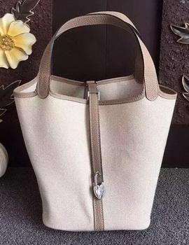 Hermes Picotin Lock 18cm Bag Canvas HPL8618T Grey