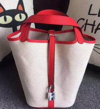 Hermes Picotin Lock 18cm Bag Canvas HPL8618T Red