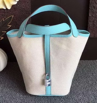 Hermes Picotin Lock 18cm Bag Canvas HPL8618T Light Blue