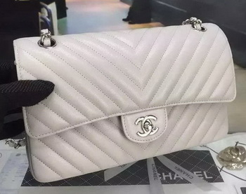 Chanel 2.55 Series Flap Bag Cannage Pattern Chevron Leather A1112 Grey