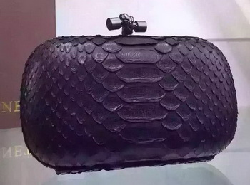 Bottega Veneta Snake Leather Knot Clutch BV8653 Black