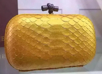 Bottega Veneta Snake Leather Knot Clutch BV8653 Gold