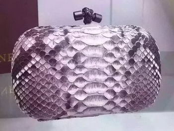 Bottega Veneta Snake Leather Knot Clutch BV8653 Grey