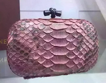 Bottega Veneta Snake Leather Knot Clutch BV8653 Pink