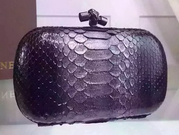 Bottega Veneta Snake Leather Knot Clutch BV8653 Silver
