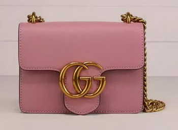 Gucci GG Marmont Leather Shoulder Bag 431384 Pink