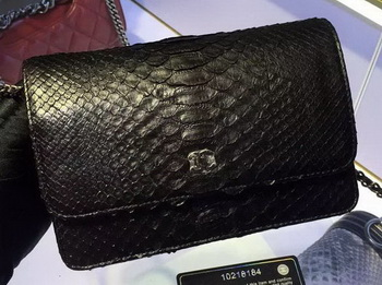Chanel WOC Flap Bag Original Snake Leather A33814 Black