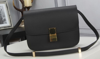 Celine Classic Box Flap Bag Calfskin Leather C3369 Black