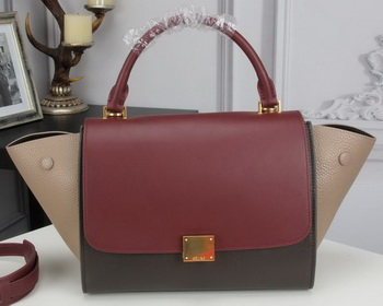 Celine mini Trapeze Bag Original Calfskin Leather CTA3345 Burgundy