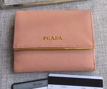 Prada Saffiano Leather Wallet 1MH523 Pink