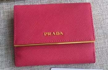 Prada Saffiano Leather Wallet 1MH523 Rose