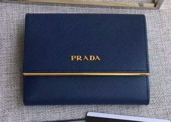 Prada Saffiano Leather Wallet 1MH523 Royal