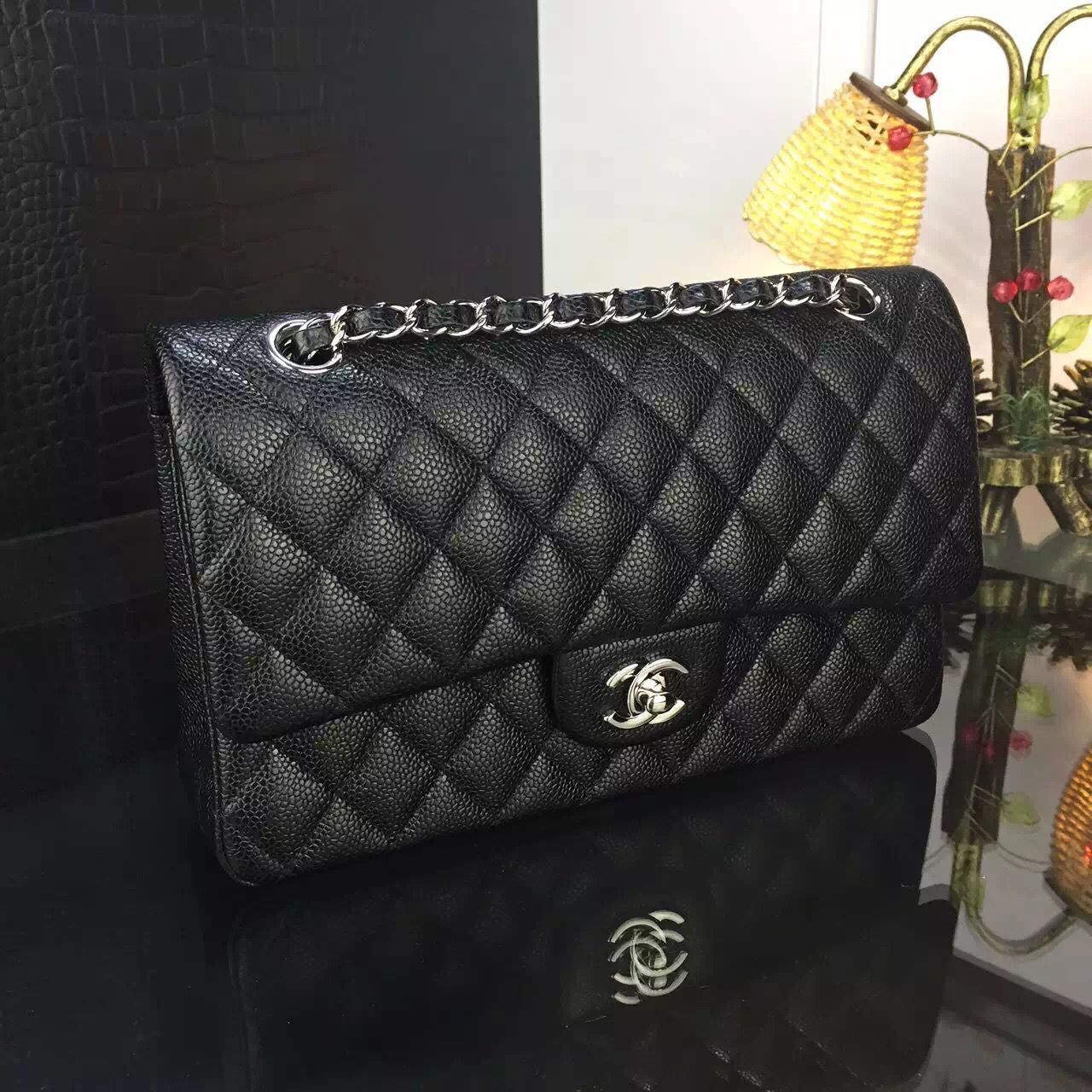 Chanel 2.55 Series Flap Bag Original Lambskin Leather Black Silver 1113
